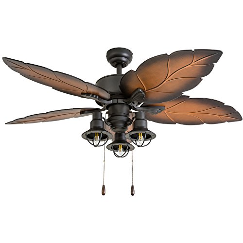- Prominence Home 50759-01 Ocean Crest Tropical Ceiling Fan (3 Speed Remote), 52