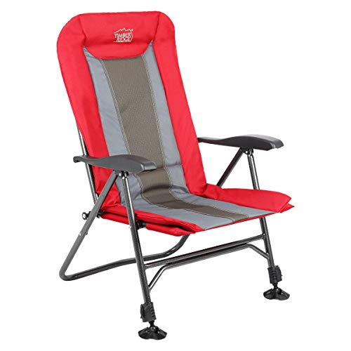 Timber Ridge Folding Camping Chair Heavy Duty with Adjustable Reclining Padded Back and Legs Supports 300lbs Armrest Outdoor Fishing Garden