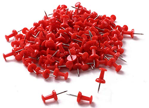 (Tupalizy 200PCS Colored Plastic Push Pins Decorative Map Thumb Tacks with Steel for Bulletin Board and DIY Craft Home Office Use (Red))