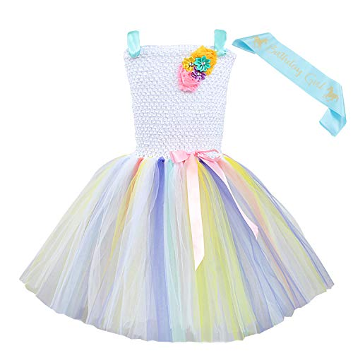 Toycost Tutu Dress Princess Costumes Skirt Outfit for Girls Party Dress Up with Birthday Sash (M~3-4t, White) (Dress Girls Crocheted)