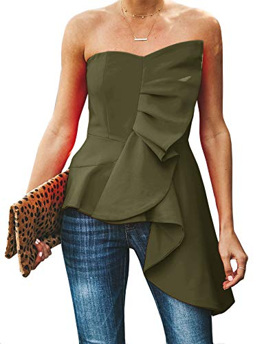(Valphsio Womens Ruffle High Low Asymmetrical Bodycon Tops Blouse Shirt Dress Green)