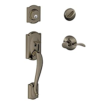 Image of Camelot Single Cylinder Handleset and Left Hand Accent Lever, Antique Pewter (F60 CAM 620 Acc LH) Home Improvements