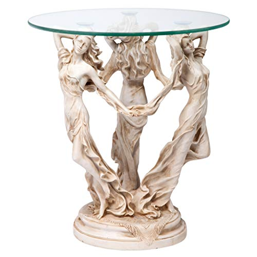 (Design Toscano The Greek Muses Glass Topped Side Table, 20 Inch, Polyresin, Antique)
