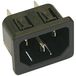 Interpower 83013121 IEC 60320 C14 Snap In Power Inlet with Quick Disconnects 1mm Panel Thickness, IEC 60320 C14 Socket Type, Black, 10A/15A Rating, 250 VAC Rating