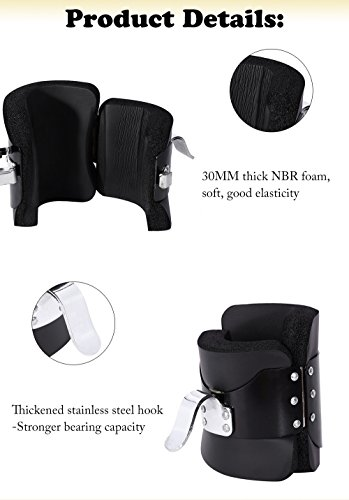 Hanging Pull Up Boots,1 Pair Black Anti Gravity Inversion Hang Up Boots Therapy Gym Fitness Physio Hang Spine Posture with Comfortable Foam Padding and Safe Locking Clips