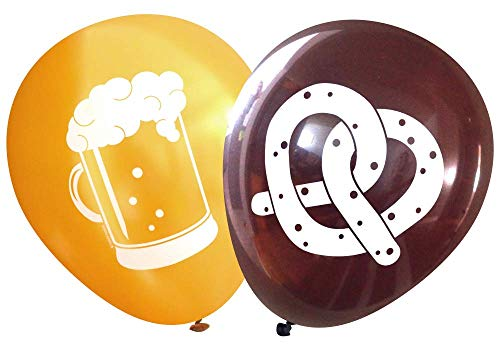 Nerdy Words Pretzel and Beer Latex Balloons (16 pcs) -