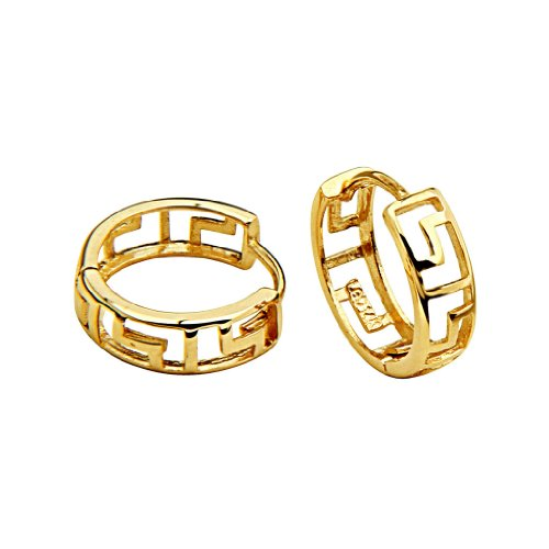 - 14k Yellow Gold 4mm Thickness Greek Key Huggies Earrings (12 x 12 mm)