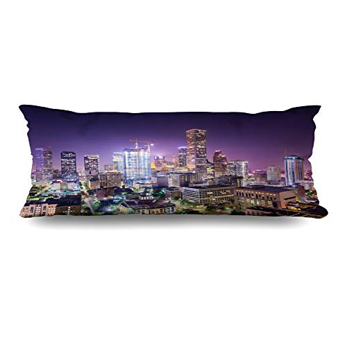 - DIYCow Body Pillows Covers USA Houston Texas Cranes Downtown City Skyline Dark Cushion Case Pillowcase Home Sofa Couch Rectangular Size 20 x 60 Inches Pillowslips