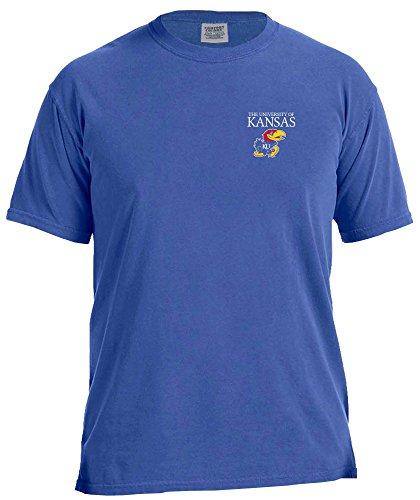 NCAA Kansas Jayhawks Simple Circle Comfort Color Short Sleeve T-Shirt, Neon Blue,Medium