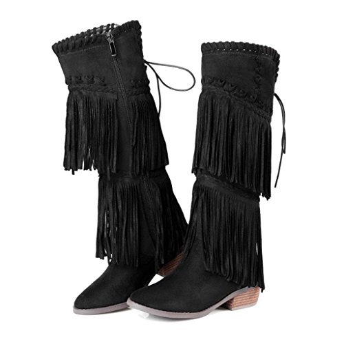 Fashion Black Knight Over Ladies Women Boots High Wedding High Heels Large Size Party Black Knee Boots Tassel Kitzen Thigh High Boots Shoes Boots wgCzBxfBq