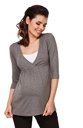 Grigio 2 allattamento in Zeta Melange Top per Ville donna prémaman Maglia T 1 372c shirt Bwq4xOEA4a