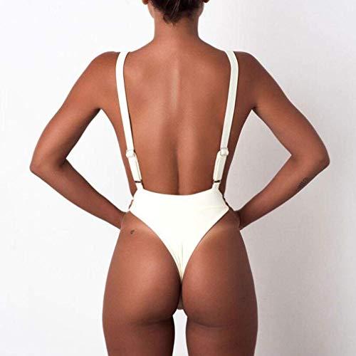 M bikini bagno costumi Backless sexy AiBarle donne reggiseno bagno imbottito push pezzo da up un tuta da tuta bianco nqqgvawU