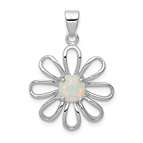 - 925 Sterling Silver Created Opal Daisy Slide Necklace Pendant Charm Chain Fine Jewelry Gifts For Women For Her