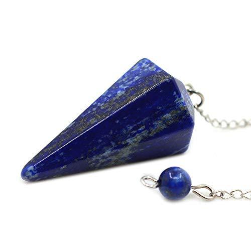 Kripanidhi Crafts Natural Lapis Lazuli Pendulum 6 Faceted Gemstone Dowsing Pendulum Chain Attached Reiki Crystal Healing
