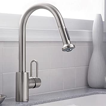 Elegant Hansgrohe Metro E High Arc Kitchen Faucet With 2 Function Pull Down  Handspray   Steel