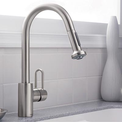 Hansgrohe Metro E High Arc Kitchen Faucet with 2 Function Pull-Down Handspray - Steel Optik finish