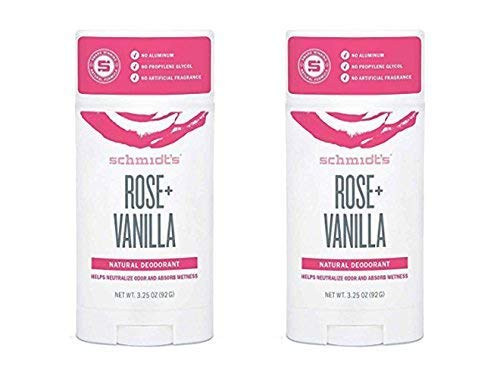 Schmidt's Rose + Vanilla Natural Deodorant Stick 3.25 Ounce (Pack of 2) ()