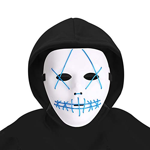 Halloween Light Up Mask Scary Cosplay Mask LED EL Wire Costume Mask for Festival Parties White -