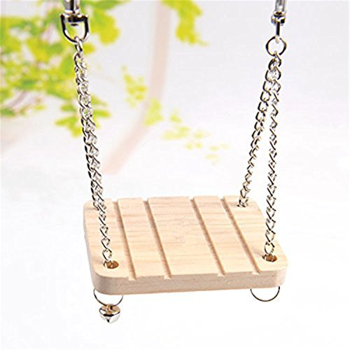 OrliverHL Wooden Swing with Bell Toy for Hamster Rat Mouse and Small Animal 41 2Br68sX0 2BL