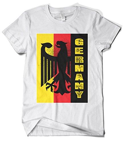 Coat White T-shirt - Cybertela Men's Germany Coat Of Arms Eagle Flag T-Shirt (White, Medium)