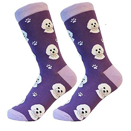 - Bichon Frise Socks -200 Needle Count-Cotton Socks- Life Like Detail of Bichon- Unisex, One Size Fits Most