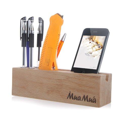 Wood Beech Multifunctional Desktop Organizer Storage Holder for iPhone Stationery Pin Home Storage Organization (Beech Desk Set)