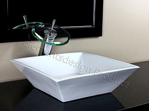 Bathroom Ceramic Porcelain Vessel Sink CV7034D4 Chrome Waterfall Faucet Drain