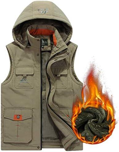 ベストメンズカジュアルプラスベルベットのベストベスト冬のベストファッション暖かいジャケットの男性 (色 : Khaki, サイズ さいず : M m)