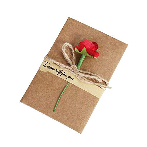 DSDY 10Packs Christmas Greeting Cards Retro Kraft Paper Artificial Flower Greeting Card DIY Wish Invitation Envelope