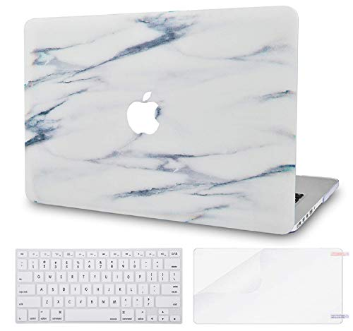 LuvCase 3 in 1 Rubberized Hard Shell Case with Keyboard Cover and Screen Protector Compatible MacBook Air 13 Inch 2019/2018 New Version A1932 Retina (Touch ID) (Crystal Marble)