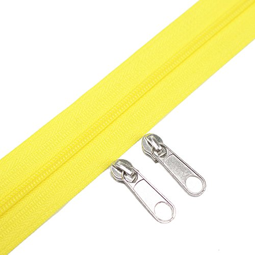 (Meillia Yellow Nylon Coil Zippers by The Yard Bulk 10 Yards + 25PCS Silver Pulls for Sewing, Bags, Crafts, Decorating (Yellow Colour))