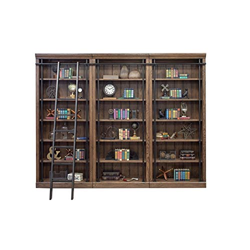 Martin Furniture AE4094x3-AE402 Avondale 3 Bookcase Wall, Oak (Library Shelves With Ladder)