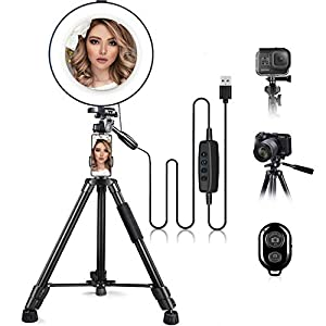 """Best Epic Trends 41%2Br7q8QpkL._SS300_ 10"""" Ring Light with Stand and Phone Holder, HQOON Upgraded LED Selfie Ringlight with 52"""" Extendable Tripod Stand for Makeup/Photography/Live Stream/Video Recording, Compatible with Phones and Cameras"""