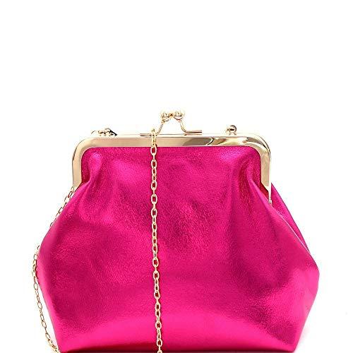 Kiss-Lock Accent Frame Metallic Clutch Shoulder Bag