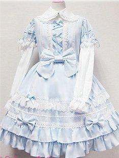 13f454753 ゴスロリィタ Lolita ロリータ服 衣装 洋服 COSMAMA LLTLZY0070 ブルーとホワイト 袖の取り外しが可能