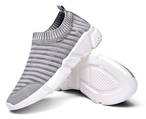 Waltzon Mens E Womens Casual Mesh Mocassini Slip-on Traspiranti Sneakers Di Moda Leggere Scarpe Da Passeggio Grigie