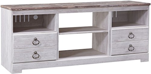 Ashley Willowton Collection W267-68 63' Large TV Stand with Fireplace and Audio Insert Compatibility Distressed Detailing and Adjustable Center Shelf in Whitewash