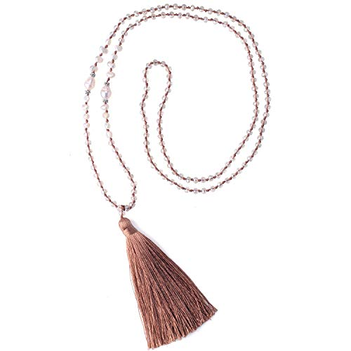 (C·QUAN CHI Long Tassel Necklace Handmade Shell Pearl Crystal Beads Necklace for Women Gifts (Champagne))