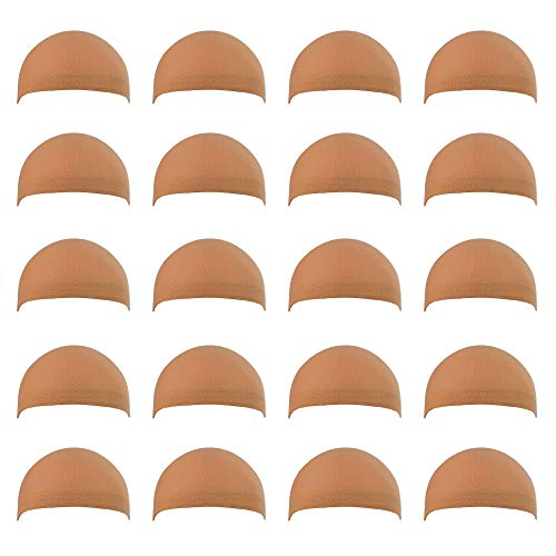 Miayon 20pcs Nude Wig Cap Unisex Natural Nylon Wig Caps for Kids,Girl and Women]()