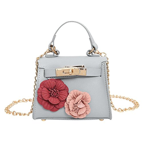 Shoulder Girls Coin Chain Mini Bag Messenger Shoulder Flowers Cross Body Fashion Bag Women Zipper Gray Handbag Ladies Leather qfInAw