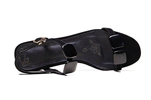 Amoonyfashion Mujer-open-toe Kitten-heels Material Suave Solid Hebilla Sandalias Negro