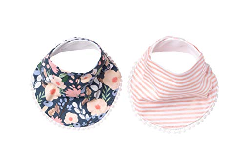 Baby Bandana Drool Bibs for Drooling and Teething 2-Pack Fashion Bibs Gift Set for Girls