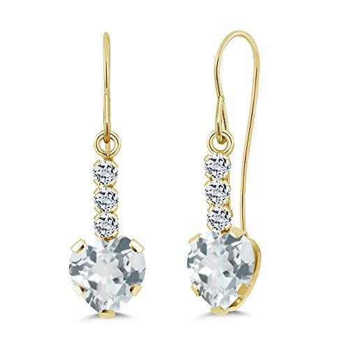 1.58 Ct Heart Shape Sky Blue Aquamarine White Topaz 14K Yellow Gold Earrings (Birthstone Style Earrings Heart Yellow)