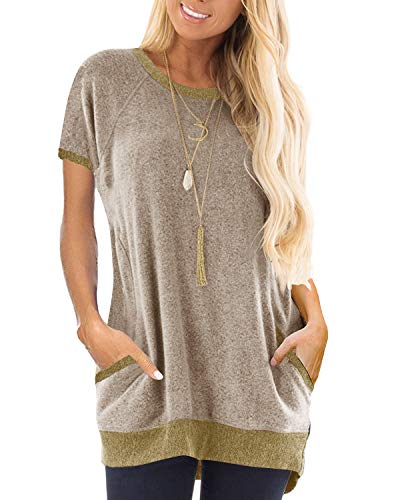 GADEWAKE Womens Casual Color Block Short Sleeve Round Neck Pocket T Shirts Blouses Tunics ()