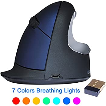 ev. Wireless Ergonomic Vertical Mouse, Rechargeable Laser Ergo Gaming Mice with Adjustable DPI 500/1000/1800/2500 for Laptops and PC, 7 Colors Breathing Light - 6 Buttons, Small Blue, Right Hand