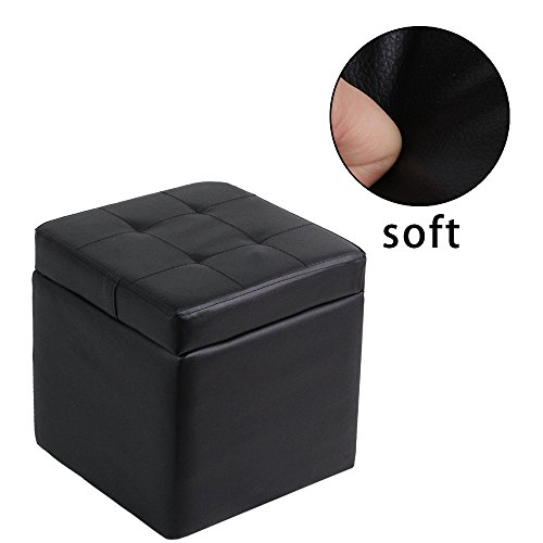 raumeyun Small Ottoman with Lift Top Storage Faux Leather Foot Rest,Black wood frame stool. by raumeyun (Image #3)