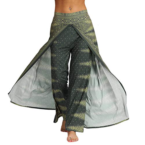 Auiyut Yoga Hosen Baggy Hippie Boho Hose Damen Palazzo Hose Elatische Hohe Taille Breite Beinhosen Loose Hoserock…