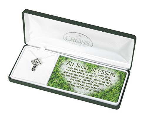 Celtic Cross Irish Blessing Women's 18 Inch Silver-Plated Necklace