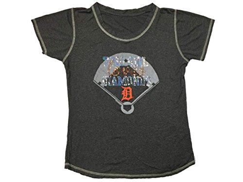 Love Diamond T-shirt - Soft As A Grape Detroit Tigers SAAG Women Gray Sequin This Girl Loves Diamonds T-Shirt (L)
