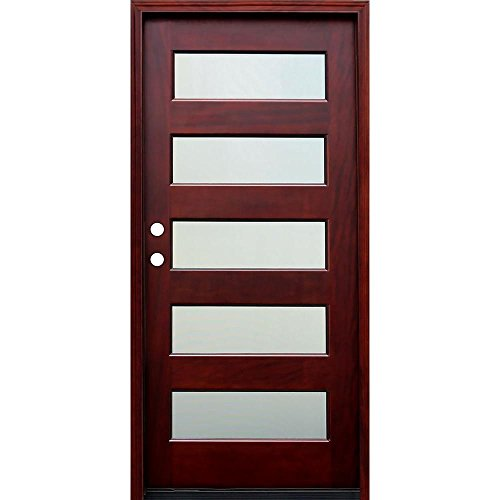 Entry Mahogany (Contemporary 5 Lite Mistlite Stained Mahogany Wood Entry Door with 6 Wall Series)
